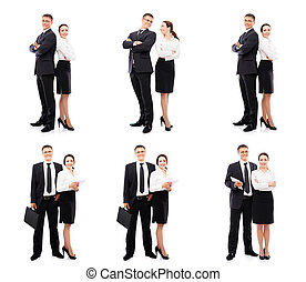 Collage of a young business couple on white.