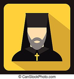 Orthodox priest icon, flat style - icon in flat style on a...