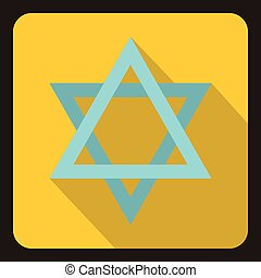 Star of David icon, flat style - icon in flat style on a...
