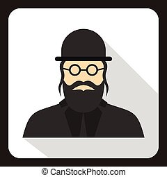 Rabbi icon in flat style - icon in flat style on a white...