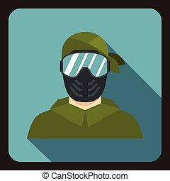 Paintball player wearing protective mask icon - icon in flat...