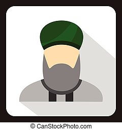 Muslim man with beard in green turban icon in flat style on...