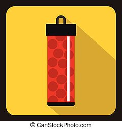 Red pack with paintball bullets icon, flat style - icon in...