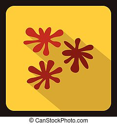 Red paint splashes icon, flat style - icon in flat style on...