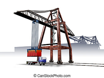 Logistics port crane - 3d illustration render, Logistics...