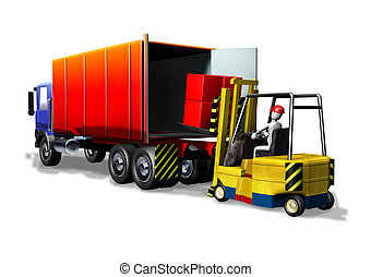 Logistics forklift truck - 3d illustration render, Logistics...