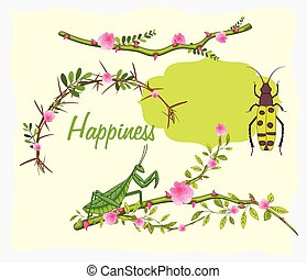 Insects on Flowers Branches