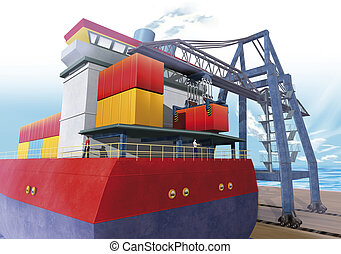 Logistics port crane - 3d illustration render, Logistics...