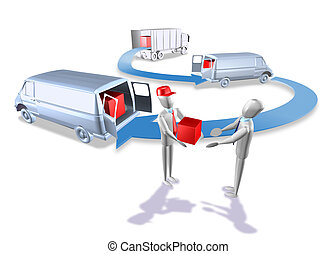 Logistics van truck - 3d illustration render, Logistics van...