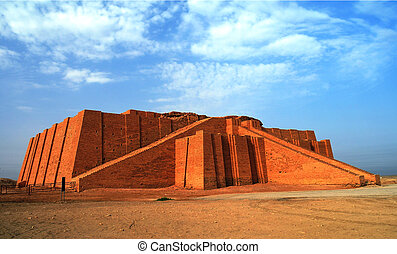 Restored ziggurat in ancient Ur, sumerian temple, Iraq -...
