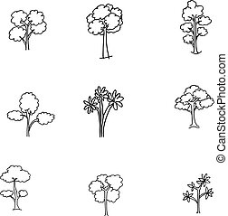 set of different doodle trees
