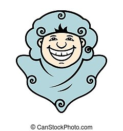 Vector Smile Spook Cartoon Illustration. - Ghost smiling....