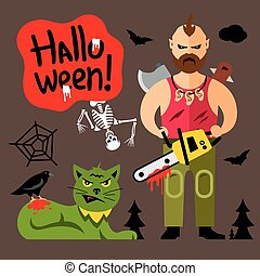 Vector Comic Crazy maniac Halloween Scene Cartoon...