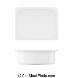 White plastic tub template for dairy products. - Rectangular...