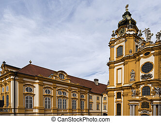 Melk Benedictine Abbey - View of the library and church of...