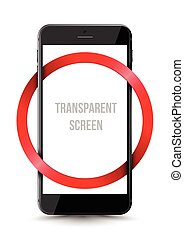Black smartphone mock-up transparent screen with red circle...