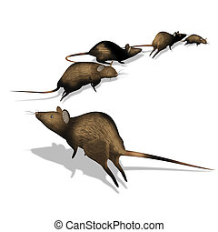 rats escape - Classic illustration, rats escape