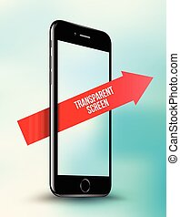 Black smartphone mock-up transparent screen with red arrow...