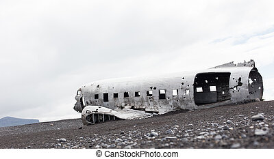 The abandoned wreck of a US military plane on Southern Iceland