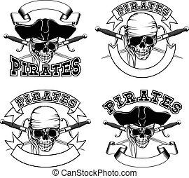 Pirate emblem skull set - Vector illustration pirate emblem...