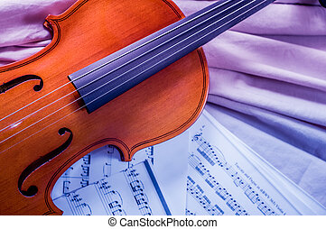 begrepp, gammal, musik, musik, ark,  violin, lögnaktig