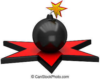 3D black bomb in the red star