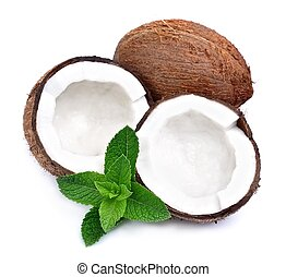 Coconuts with mint on a white background