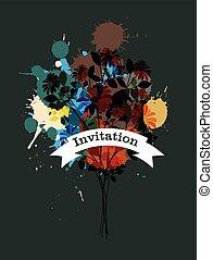 Grunge Flowers Invitation Banner