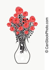 Red Roses Bouquet in Flower Vase Vector Illustration