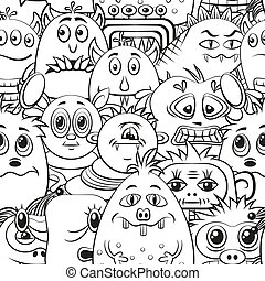 Cartoon Contour Monsters Seamless - Seamless Background for...