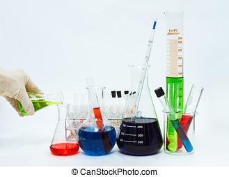 science laboratory glassware,Group of laboratory flasks...
