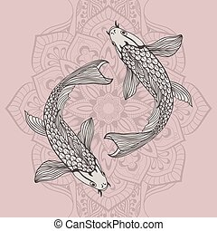 beautiful koi carp fish illustration in monochrome. Symbol...