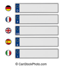 European Union license plates isolated on white background....