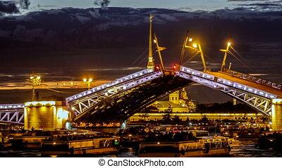 Time lapse. The rise of the Palace Bridge, across the River Neva.