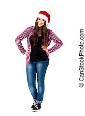 Girl wearing Santa Claus hat - Beautiful caucasian girl...