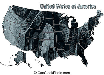USA map in abstract style on a white background