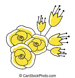 Yellow Roses Flowers Vector