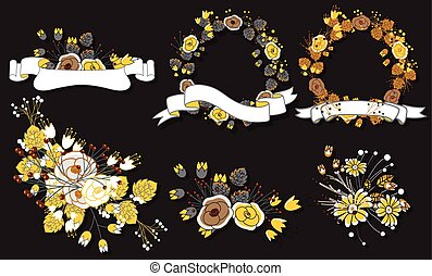 Christmas Wreath Banner and Flowers Bouquet Set Vector...