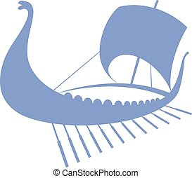 Viking ship icon. Longship. Isolated on white.