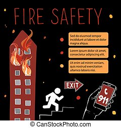 Template for fire safety instructions. A fire in a storey...
