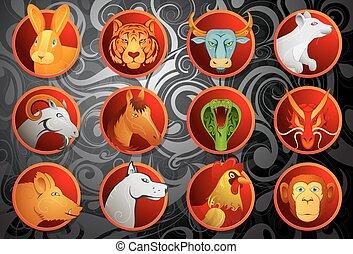 Chinese zodiac animal signs set