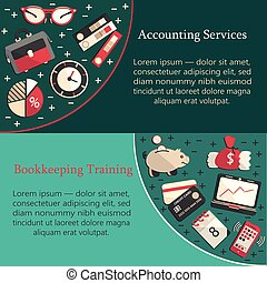 Bookkeeping card template with vector flat icons for web and...