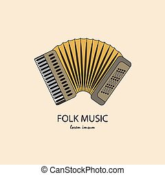 Music instrument. Vector - Accordion logo. Thin line icon...