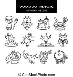 Voodoo African and American magic vector line icons Voodoo...