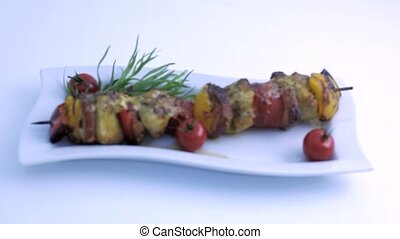 freshly prepared barbecue skewer - Fried vegetables on a...