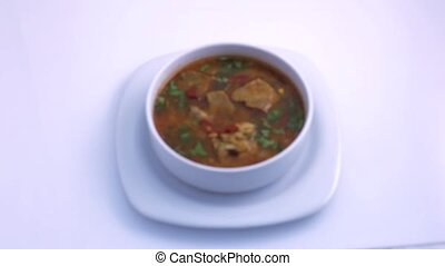 Soup with meat. View from above - National dish borsch....