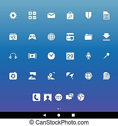 White Smartphone Apps and Icons - Vector Illustration of...