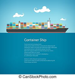 Cargo Container Ship and Text, Industrial Marine Vessel with...