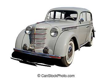 retro car - car of 50 years is isolated by a retro on a...