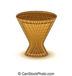 Ancient Wooden Flowers Vase Vector